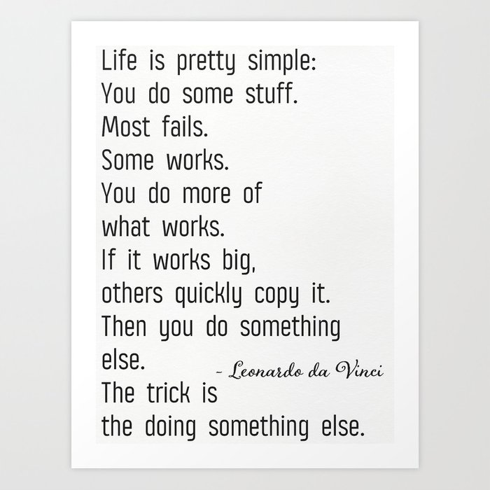 Leonardo Da Vinci Quote B Art Print By Printscenter Society6