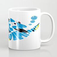 "finding nemo Mugs featuring ""just keep swimming"" (Finding Nemo- Dory) by Art of Fernie"