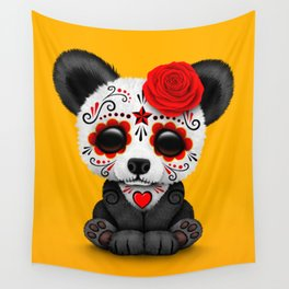 Red Day of the Dead Sugar Skull Panda Wall Tapestry