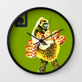monkey and the traffic light Wall Clock