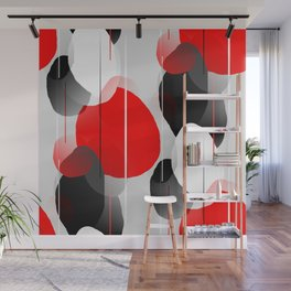 Modern Anxiety Abstract - Red, Black, Gray Wall Mural