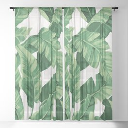 Tropical banana leaves IV Sheer Curtain