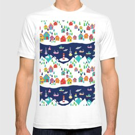 Scandinavian Rainbow Village and Fishing boats in the Fjord T-shirt