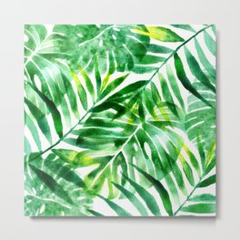 Monstera and palm watercolor Metal Print