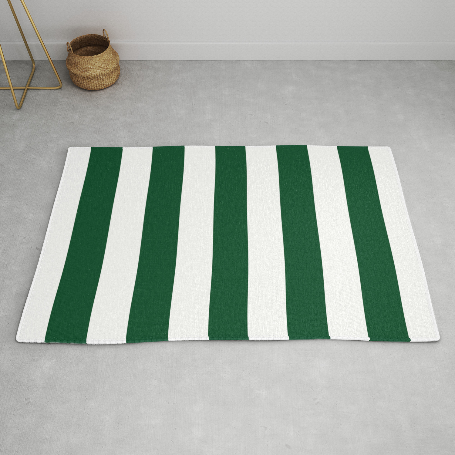 Forest Green Traditional Solid Color White Vertical Lines Pattern Rug By Makeitcolorful