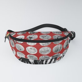 Pods & Dots, Red, B&W Fanny Pack