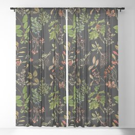 Vintage & Shabby Chic - vintage botanical wildflowers and berries on black Sheer Curtain