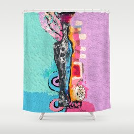 Vase and apple Shower Curtain
