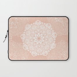 Seashell Mandala Coral Pink and White by Nature Magick Laptop Sleeve