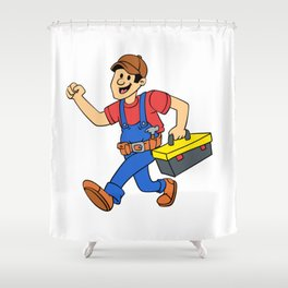 Happy running handyman cartoon illustration Shower Curtain