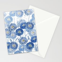 blue indigo dandelion pattern watercolor Stationery Cards