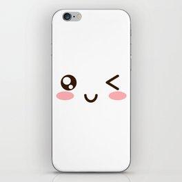 CUTE ANIME JAPANESE EMOJI/EMOTICON WINKY FACE iPhone Skin