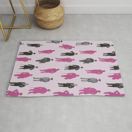 Pink Vintage Gentlemen Pattern Rug