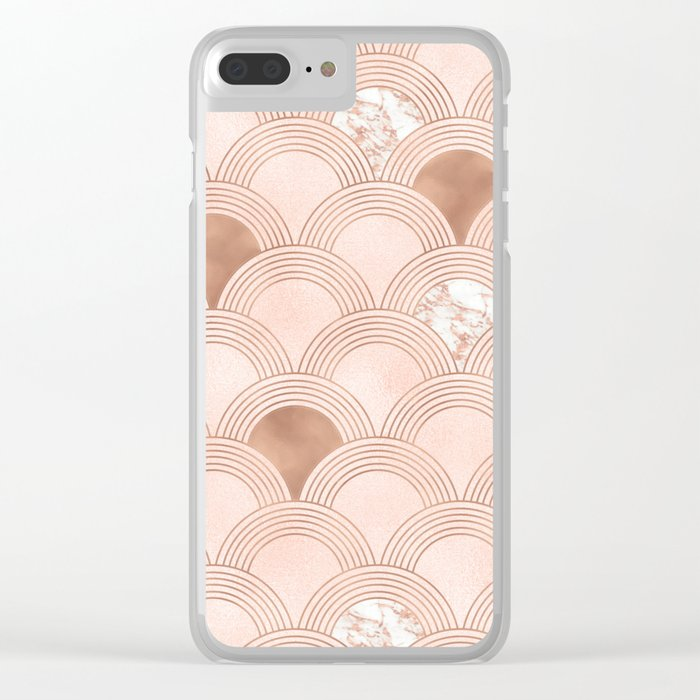Elegant marble cotton candy fans in rose gold Clear iPhone Case