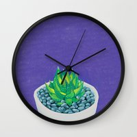 succulent Wall Clocks featuring Succulent by marlene holdsworth