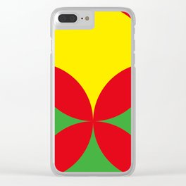 Red Four-Leaf-Clover, in the Jungle, hiding a beautiful Yellow Sun in a Red summer sky. Clear iPhone Case