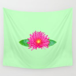 Pink Daisy Flower Green Background Wall Tapestry