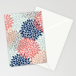 Floral Bloom Print, Living Coral, Pale Aqua Blue, Gray, Navy Stationery Cards