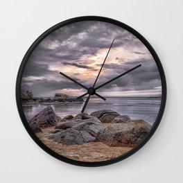 Cloudy beach sunset Wall Clock