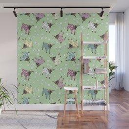 Pajama'd Baby Goats - Green Wall Mural