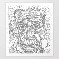 einstein Art Prints featuring Einstein  by Jess Moore