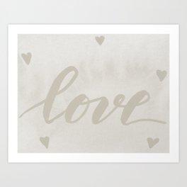 Valentine's Day Watercolor Love – white Art Print