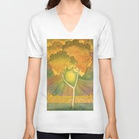 birch V-neck T-shirts featuring Birch 2 by Eugene Frost