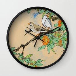 Amadina on the branch Japan Hieroglyph original artwork in japanese style J108 painting by Ksavera Wall Clock