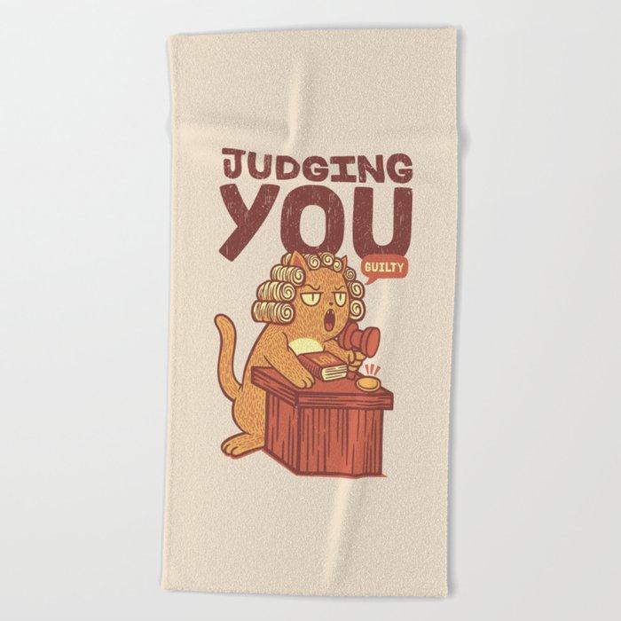 I'm Judging You Cat T-Shirt Beach Towel