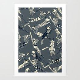 dog party indigo pewter Art Print