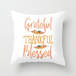 Grateful Thankful Blessed Feather Thanksgiving Day Throw Pillow