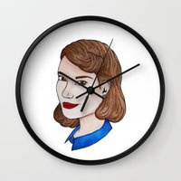 peggy carter Wall Clocks featuring Watercolour Peggy Carter by HayPaige