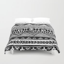 Black White Cute Girly Urban Tribal Aztec Andes Abstract Geometric Hand-drawn Pattern Duvet Cover