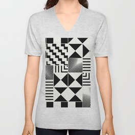 Mosaic Black And White Pattern Unisex V-Neck