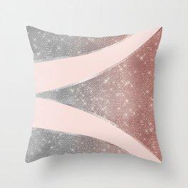 Glamorous Sparkly Silver Rose Gold Glitter Geo Throw Pillow