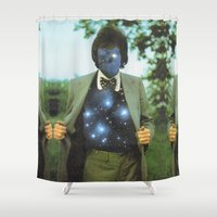 sagan Shower Curtains featuring Everything the universe is within you  by Mariano Peccinetti