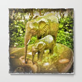 Elephant Sketch Metal Print