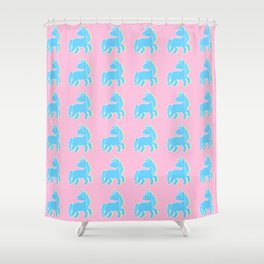 Blue unicorn in a pink world Shower Curtain