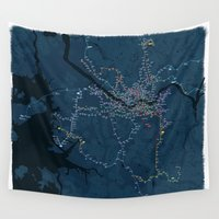 seoul Wall Tapestries featuring Contemporary Art Subway Map of Seoul, South Korea by Hapa Mandu
