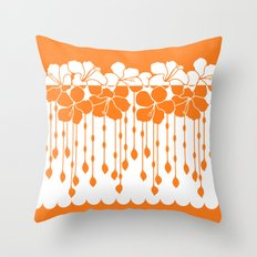 Hibiscus Neg Positive: Orange  Throw Pillow