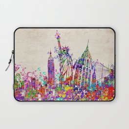 New York skyline colorful collage Laptop Sleeve
