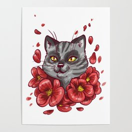 Flowers cat Poster