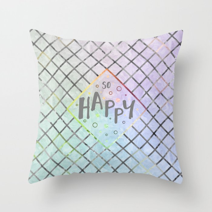 Text Art SO HAPPY | rainbow-colored Throw Pillow