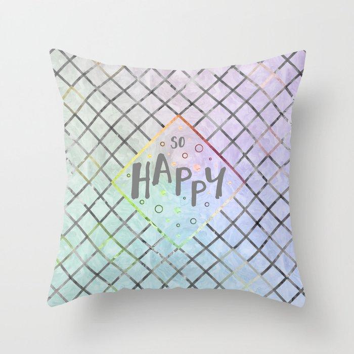 Text Art SO HAPPY | rainbow-colored Throw Pillow