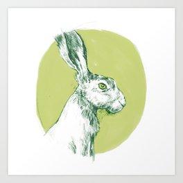 Green Hare Art Print