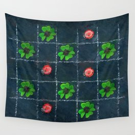 Clover and ladybugs tic-tac-toe pattern Wall Tapestry