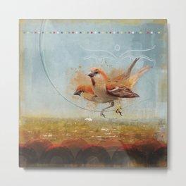 Kathmandu Cinnamon Sparrows Metal Print