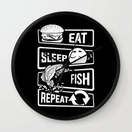 Eat Sleep Fish Repeat - Fishing Fisherman Wall Clock