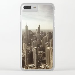 Chicago Buildings Sears Tower Sky Sun Color Photo Clear iPhone Case