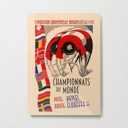 Retro cycling world championships 1935 Brussels Metal Print